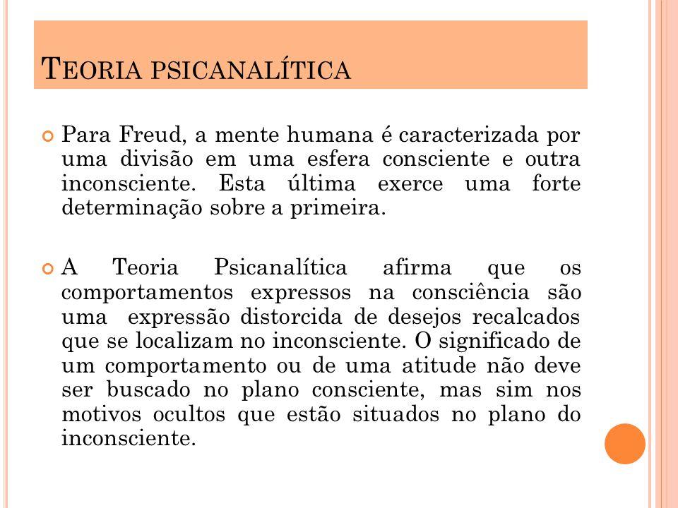 Para Freud, a mente humana é caracterizada por uma divisão em uma esfera consciente e outra inconsciente. Esta última exerce uma forte determinação so