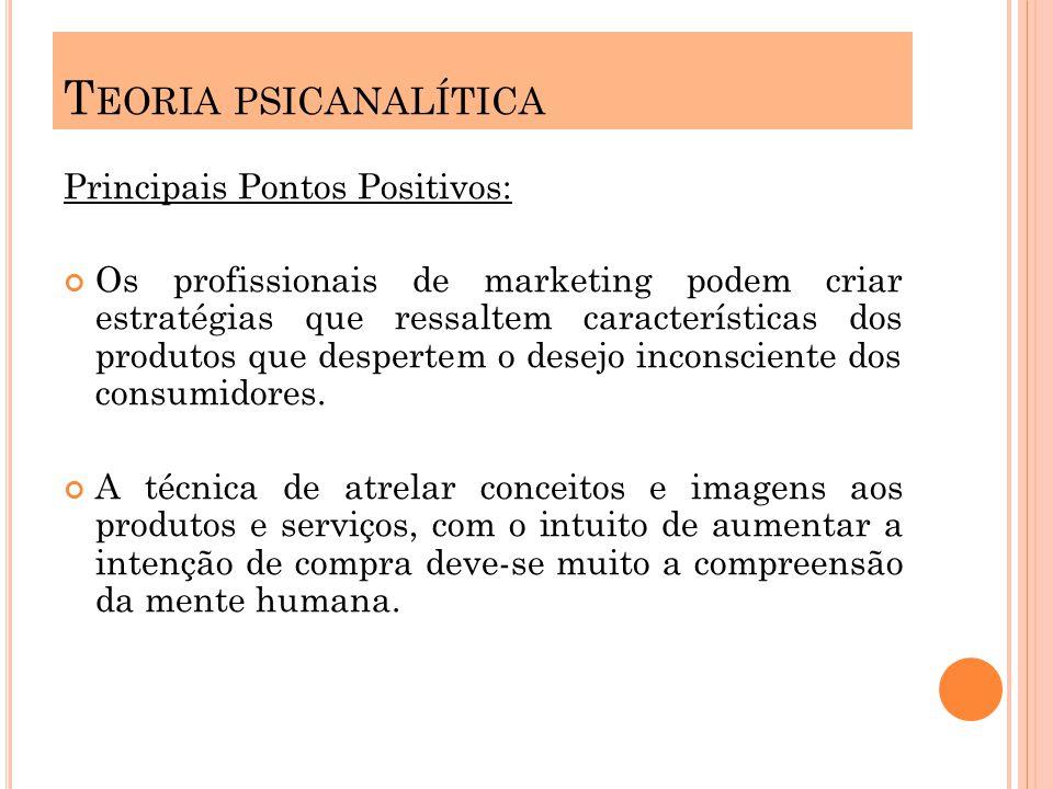 Exemplo: A busca da felicidade, do padrão de beleza, do status, aceitação social parte desta teoria e é muito explorado pelas estratégias de marketi ng.