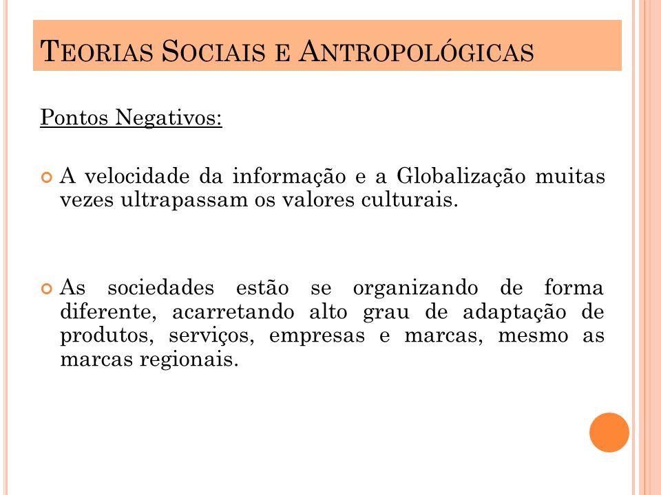 Pontos Negativos: A velocidade da informação e a Globalização muitas vezes ultrapassam os valores culturais.