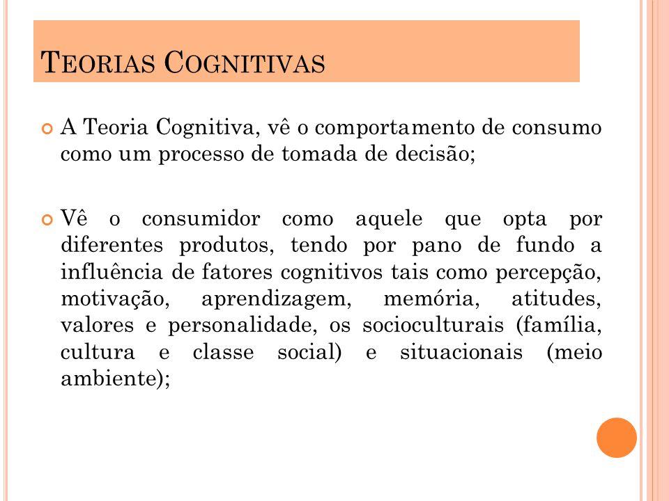 A Teoria Cognitiva, vê o comportamento de consumo como um processo de tomada de decisão; Vê o consumidor como aquele que opta por diferentes produtos, tendo por pano de fundo a influência de fatores cognitivos tais como percepção, motivação, aprendizagem, memória, atitudes, valores e personalidade, os socioculturais (família, cultura e classe social) e situacionais (meio ambiente); T EORIAS C OGNITIVAS