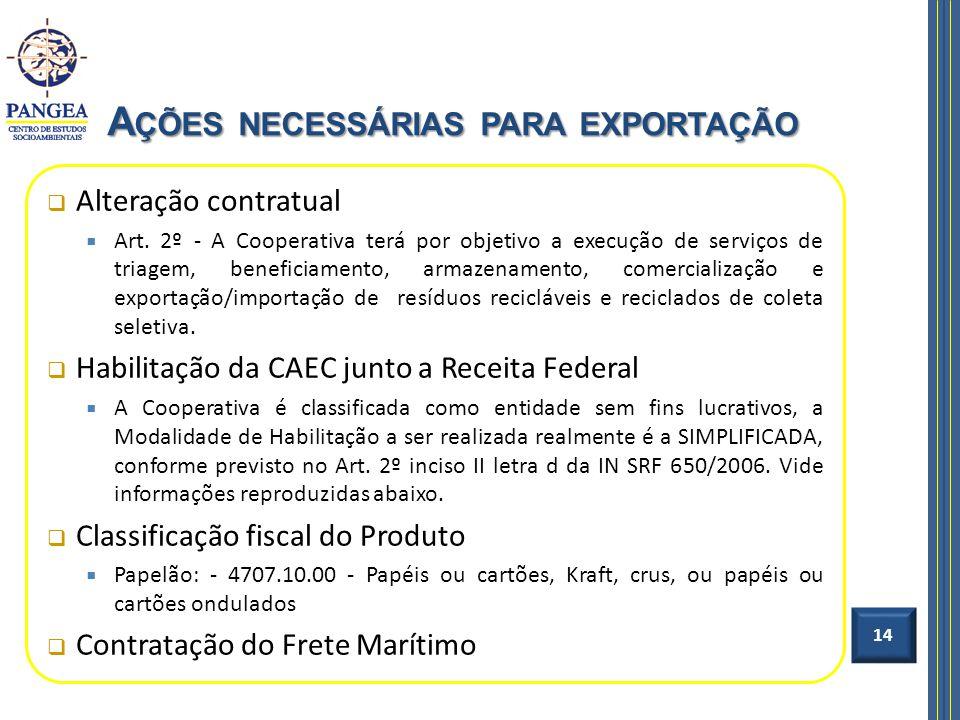 Alteração contratual Art. 2º - A Cooperativa terá por objetivo a execução de serviços de triagem, beneficiamento, armazenamento, comercialização e exp