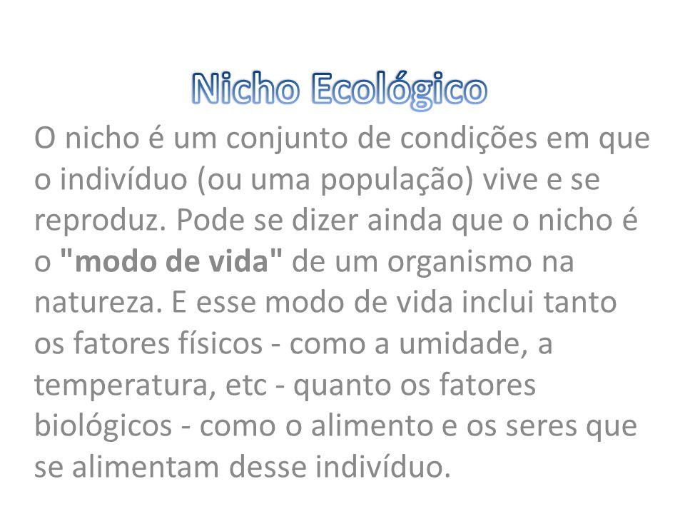 O nicho é um conjunto de condições em que o indivíduo (ou uma população) vive e se reproduz. Pode se dizer ainda que o nicho é o