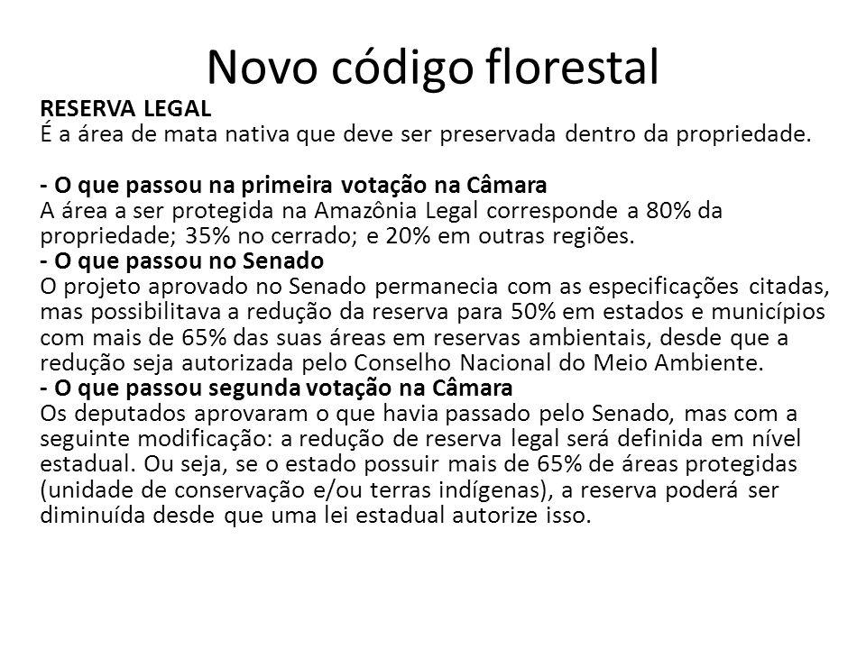 Novo código florestal RESERVA LEGAL É a área de mata nativa que deve ser preservada dentro da propriedade. - O que passou na primeira votação na Câmar