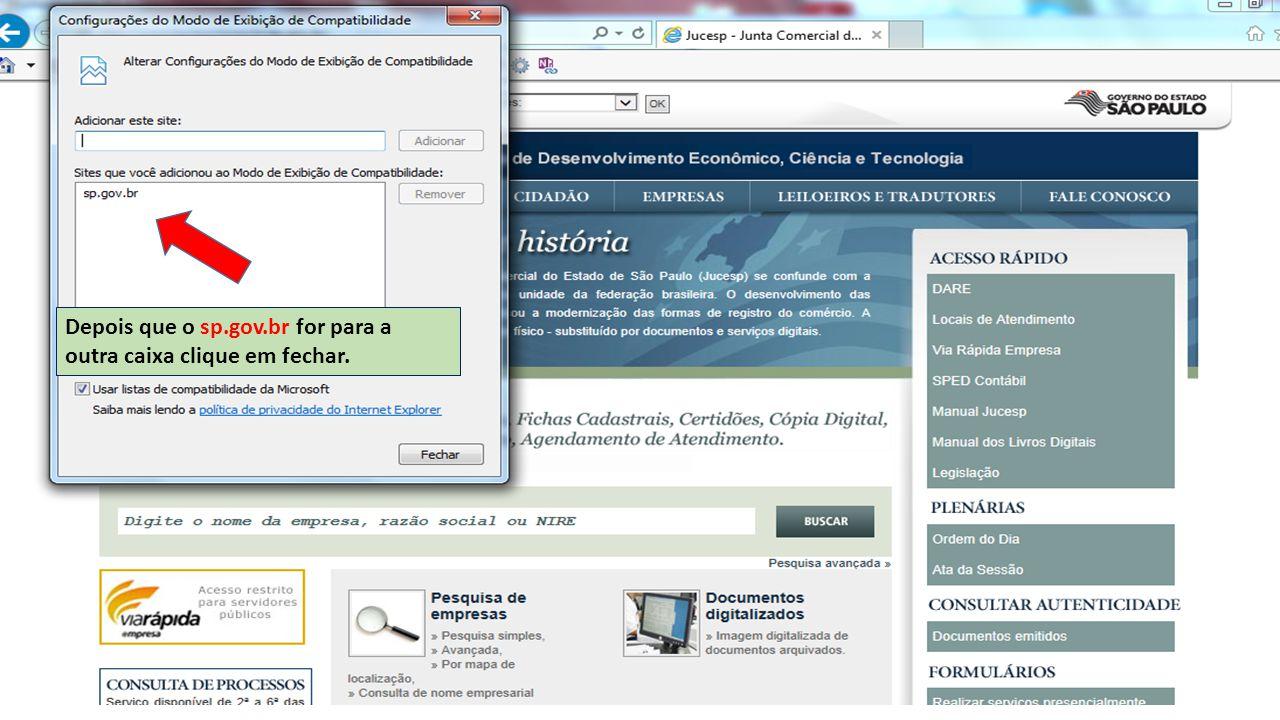 Depois que o sp.gov.br for para a outra caixa clique em fechar.
