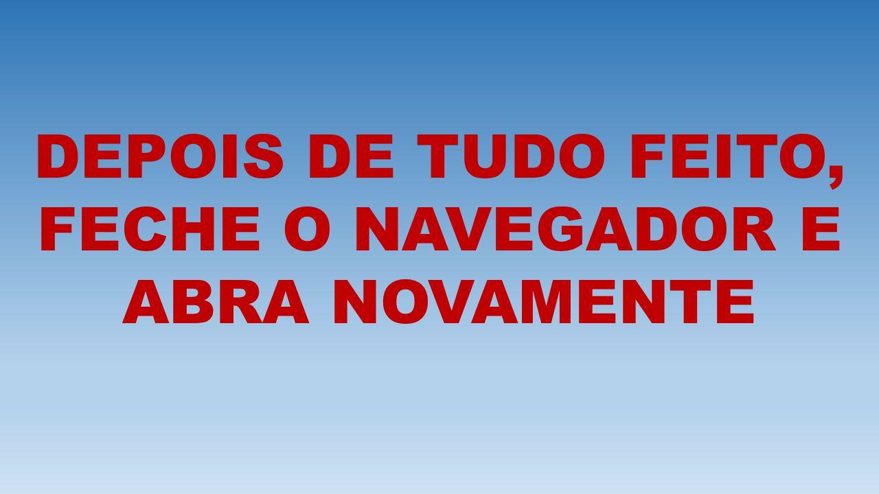 DEPOIS DE TUDO FEITO, FECHE O NAVEGADOR E ABRA NOVAMENTE