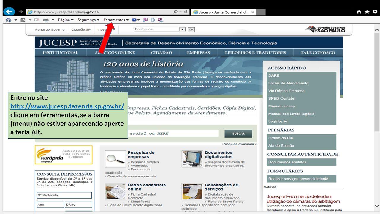 Entre no site http://www.jucesp.fazenda.sp.gov.br/ clique em ferramentas, se a barra (menu) não estiver aparecendo aperte a tecla Alt. http://www.juce