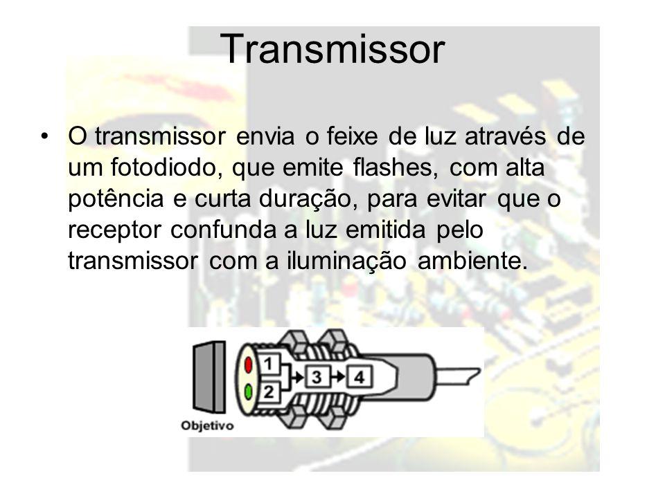 Transmissor O transmissor envia o feixe de luz através de um fotodiodo, que emite flashes, com alta potência e curta duração, para evitar que o recept