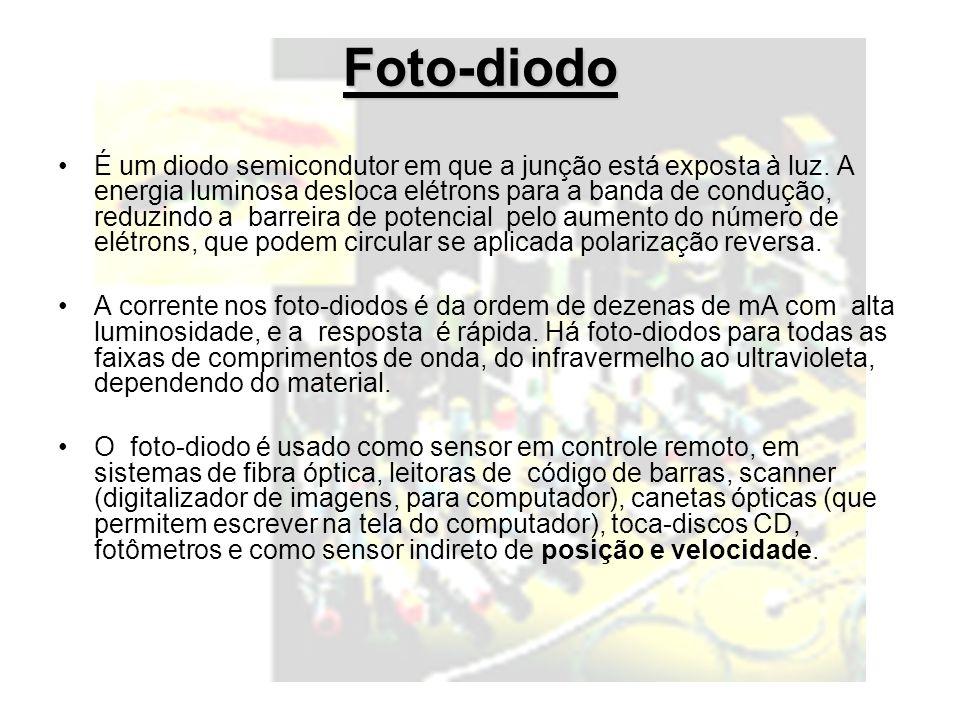 Foto-diodo É um diodo semicondutor em que a junção está exposta à luz.