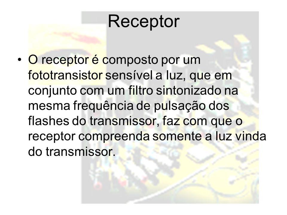 Receptor O receptor é composto por um fototransistor sensível a luz, que em conjunto com um filtro sintonizado na mesma frequência de pulsação dos flashes do transmissor, faz com que o receptor compreenda somente a luz vinda do transmissor.