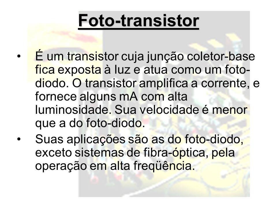 Foto-transistor É um transistor cuja junção coletor-base fica exposta à luz e atua como um foto- diodo. O transistor amplifica a corrente, e fornece a