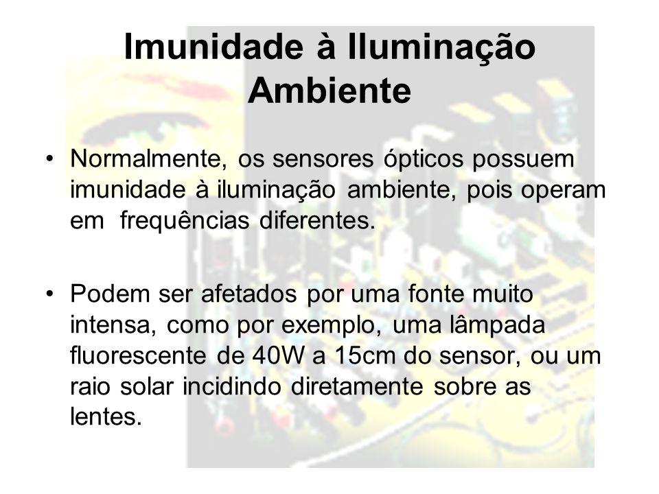 Imunidade à Iluminação Ambiente Normalmente, os sensores ópticos possuem imunidade à iluminação ambiente, pois operam em frequências diferentes. Podem