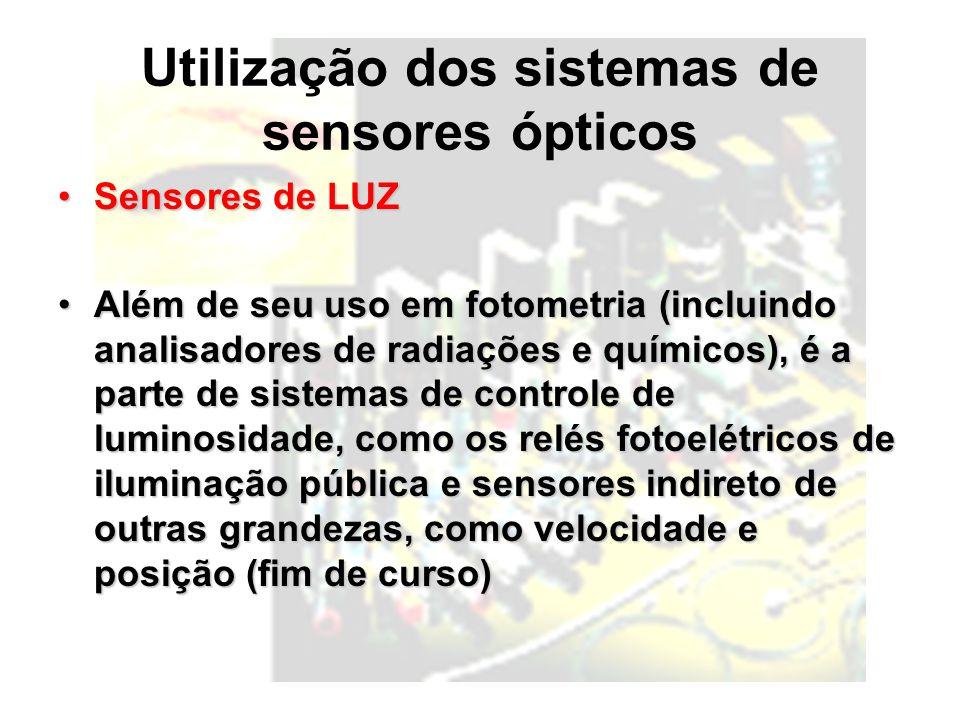 Utilização dos sistemas de sensores ópticos Sensores de LUZSensores de LUZ Além de seu uso em fotometria (incluindo analisadores de radiações e químicos), é a parte de sistemas de controle de luminosidade, como os relés fotoelétricos de iluminação pública e sensores indireto de outras grandezas, como velocidade e posição (fim de curso)Além de seu uso em fotometria (incluindo analisadores de radiações e químicos), é a parte de sistemas de controle de luminosidade, como os relés fotoelétricos de iluminação pública e sensores indireto de outras grandezas, como velocidade e posição (fim de curso)
