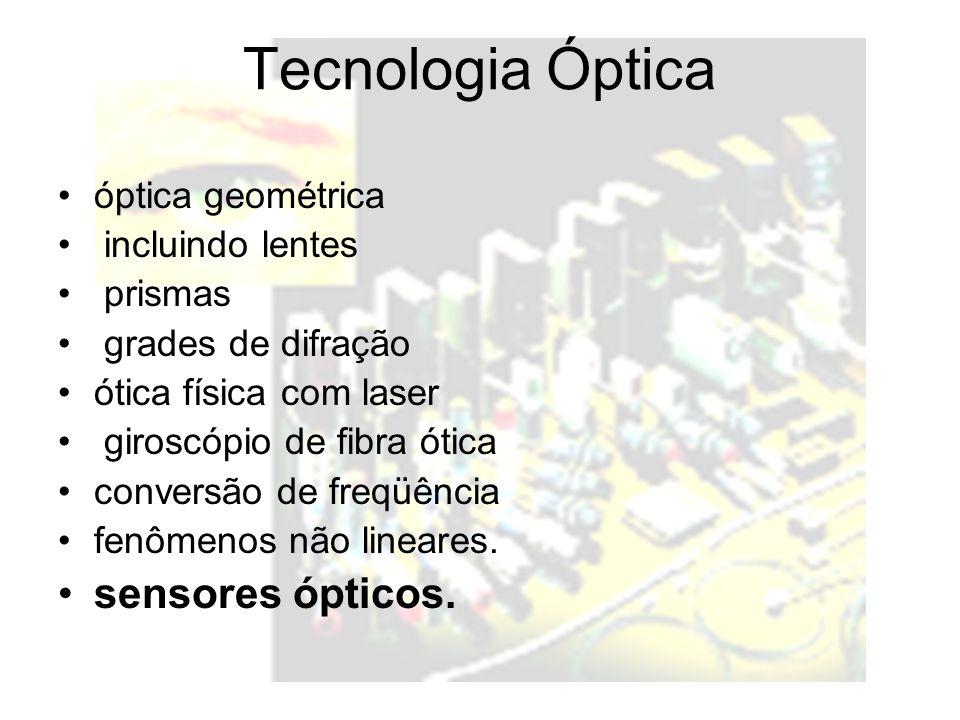 Tecnologia Óptica óptica geométrica incluindo lentes prismas grades de difração ótica física com laser giroscópio de fibra ótica conversão de freqüência fenômenos não lineares.