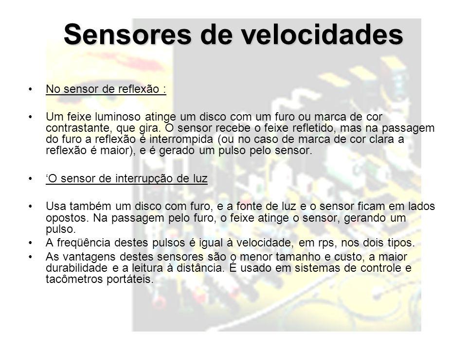 Sensores de velocidades No sensor de reflexão : Um feixe luminoso atinge um disco com um furo ou marca de cor contrastante, que gira. O sensor recebe