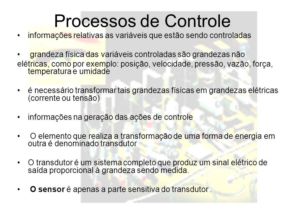 Processos de Controle informações relativas as variáveis que estão sendo controladas grandeza física das variáveis controladas são grandezas não elétr