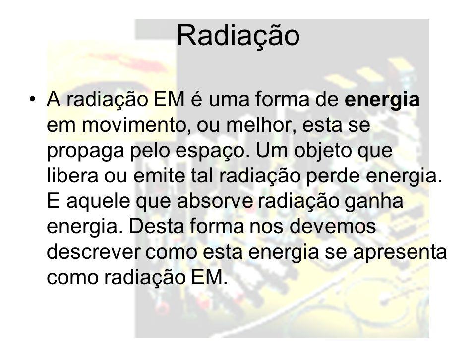 Radiação A radiação EM é uma forma de energia em movimento, ou melhor, esta se propaga pelo espaço. Um objeto que libera ou emite tal radiação perde e