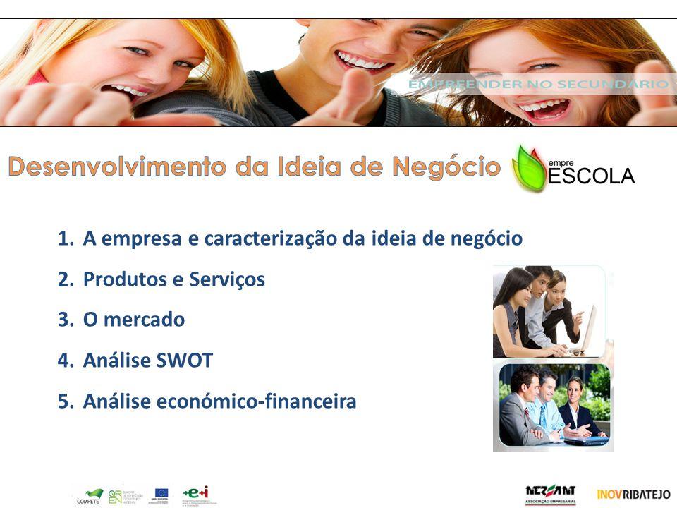 1.A empresa e caracterização da ideia de negócio 2.Produtos e Serviços 3.O mercado 4.Análise SWOT 5.Análise económico-financeira