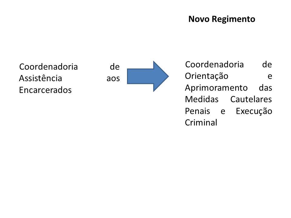 Coordenadoria de Assistência aos Encarcerados Coordenadoria de Orientação e Aprimoramento das Medidas Cautelares Penais e Execução Criminal Novo Regim