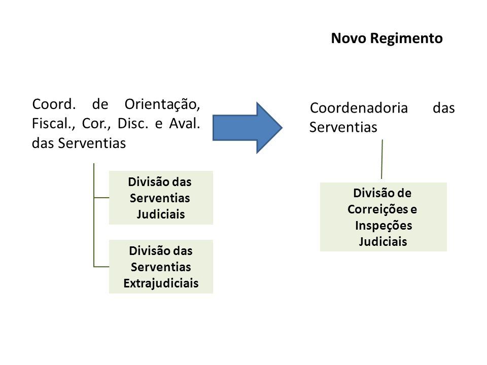 Coord. de Orientação, Fiscal., Cor., Disc. e Aval. das Serventias Coordenadoria das Serventias Novo Regimento Divisão das Serventias Judiciais Divisão