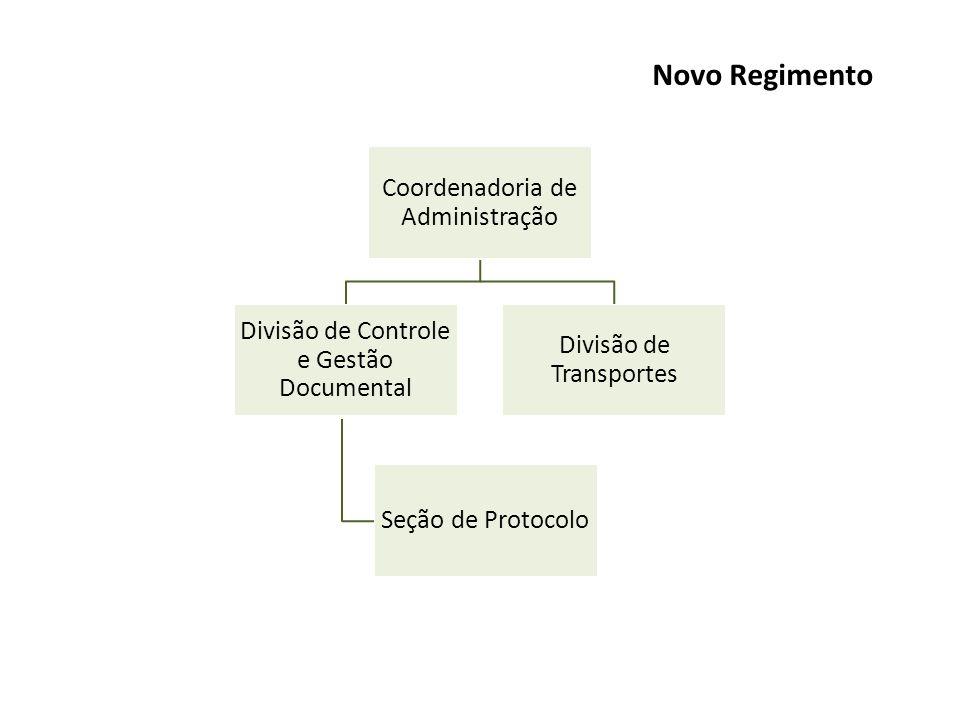 Coordenadoria de Administração Divisão de Controle e Gestão Documental Seção de Protocolo Divisão de Transportes Novo Regimento