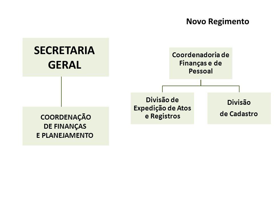 Coordenadoria de Finanças e de Pessoal Divisão de Expedição de Atos e Registros Divisão de Cadastro Novo Regimento SECRETARIA GERAL COORDENAÇÃO DE FINANÇAS E PLANEJAMENTO