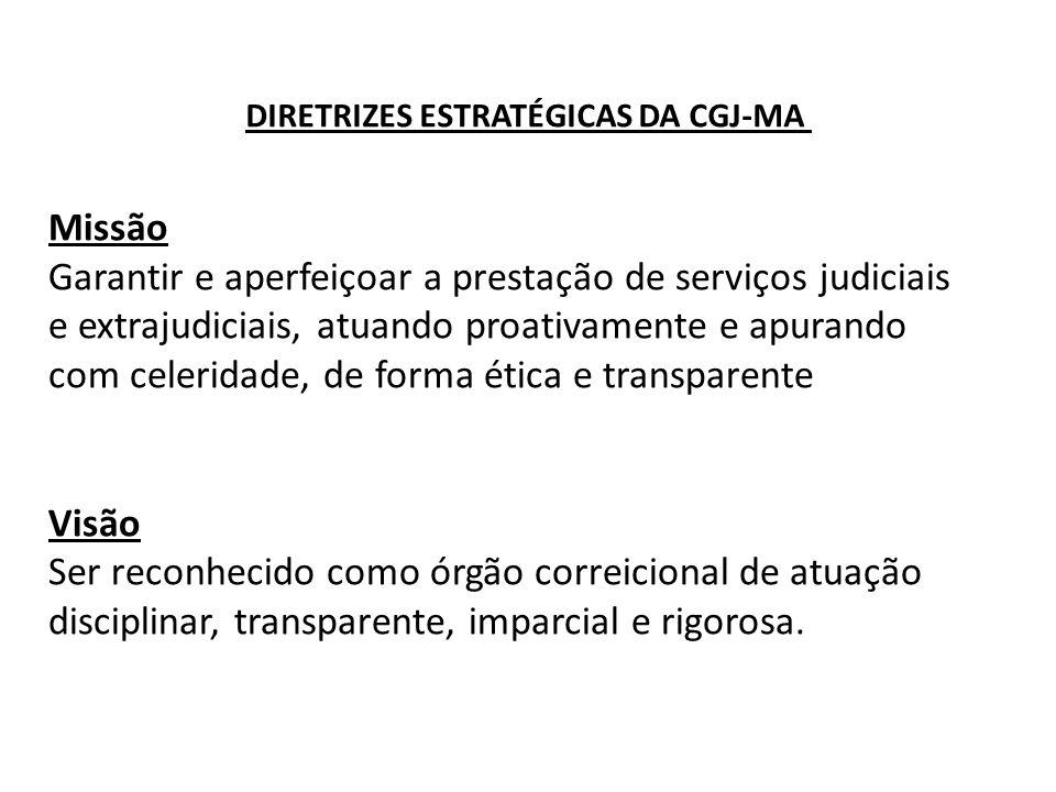 Missão Garantir e aperfeiçoar a prestação de serviços judiciais e extrajudiciais, atuando proativamente e apurando com celeridade, de forma ética e tr
