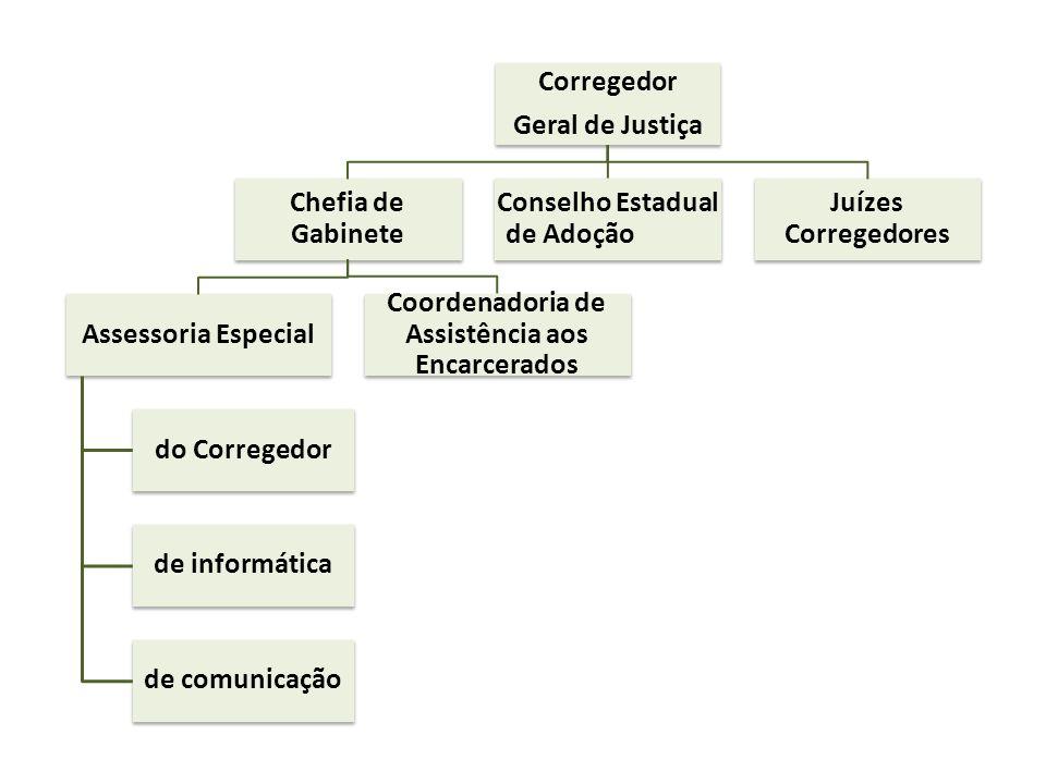 Corregedor Geral de Justiça Chefia de Gabinete Assessoria Especial do Corregedor de informática de comunicação Coordenadoria de Assistência aos Encarc