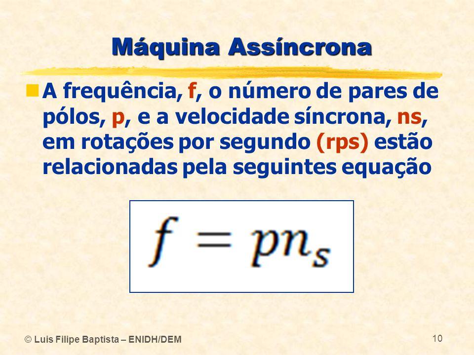 © Luis Filipe Baptista – ENIDH/DEM 10 Máquina Assíncrona A frequência, f, o número de pares de pólos, p, e a velocidade síncrona, ns, em rotações por