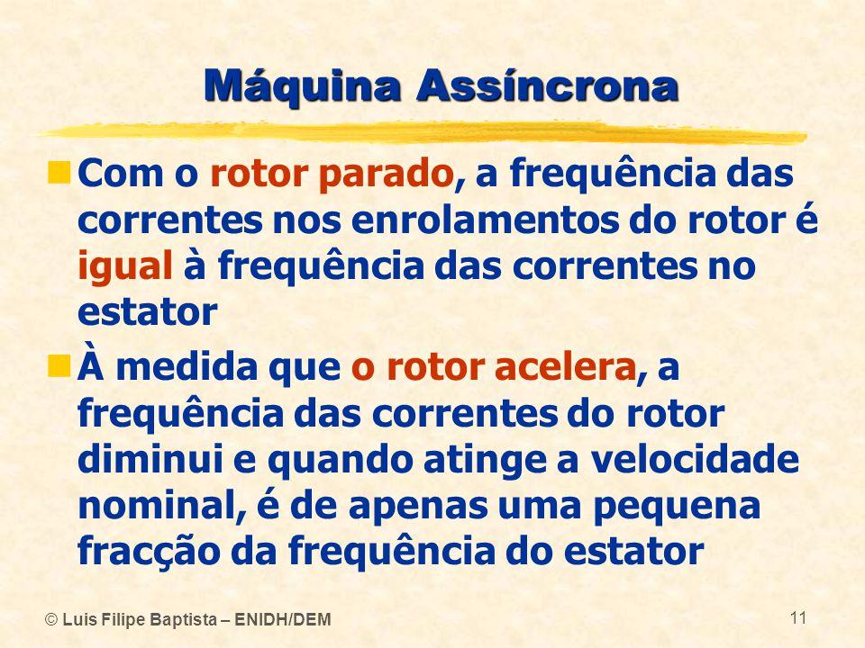 © Luis Filipe Baptista – ENIDH/DEM 11 Máquina Assíncrona Com o rotor parado, a frequência das correntes nos enrolamentos do rotor é igual à frequência