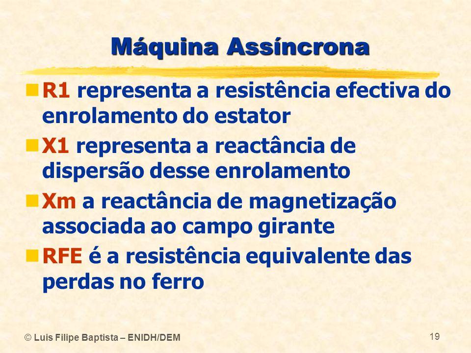© Luis Filipe Baptista – ENIDH/DEM 19 Máquina Assíncrona R1 representa a resistência efectiva do enrolamento do estator X1 representa a reactância de