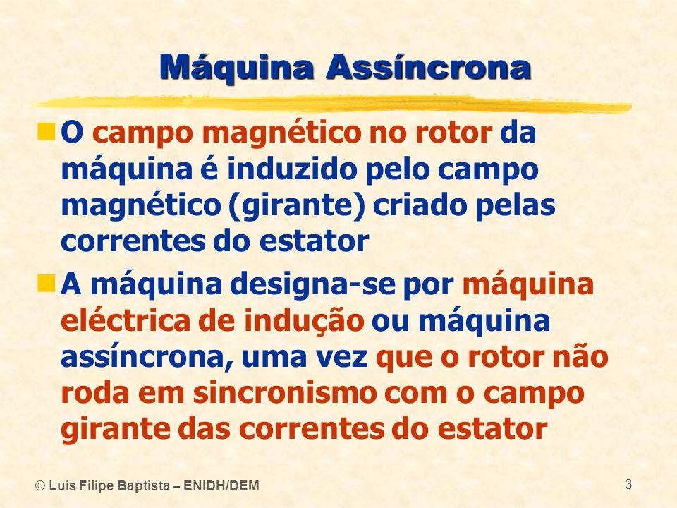 © Luis Filipe Baptista – ENIDH/DEM 3 Máquina Assíncrona O campo magnético no rotor da máquina é induzido pelo campo magnético (girante) criado pelas c