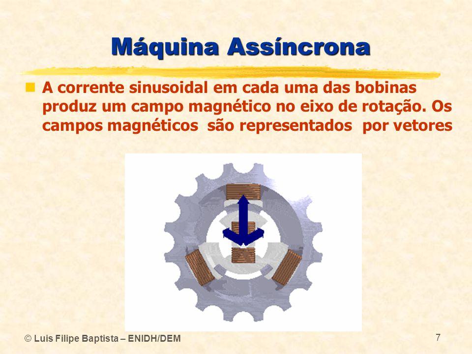 © Luis Filipe Baptista – ENIDH/DEM 7 Máquina Assíncrona A corrente sinusoidal em cada uma das bobinas produz um campo magnético no eixo de rotação. Os