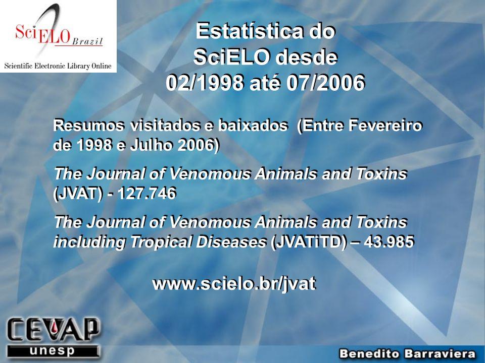 Resumos visitados e baixados (Entre Fevereiro de 1998 e Julho 2006) The Journal of Venomous Animals and Toxins (JVAT) - 127.746 The Journal of Venomou
