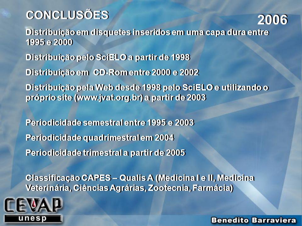 2006 CONCLUSÕES Distribuição em disquetes inseridos em uma capa dura entre 1995 e 2000 Distribuição pelo SciELO a partir de 1998 Distribuição em CD-Ro