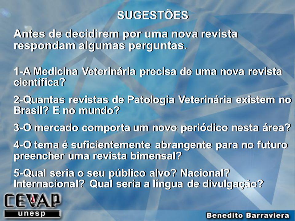 SUGESTÕES Antes de decidirem por uma nova revista respondam algumas perguntas. 1-A Medicina Veterinária precisa de uma nova revista científica? 2-Quan