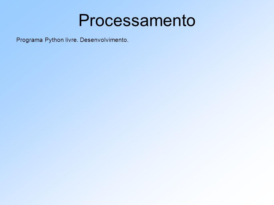 Processamento Programa Python livre. Desenvolvimento.