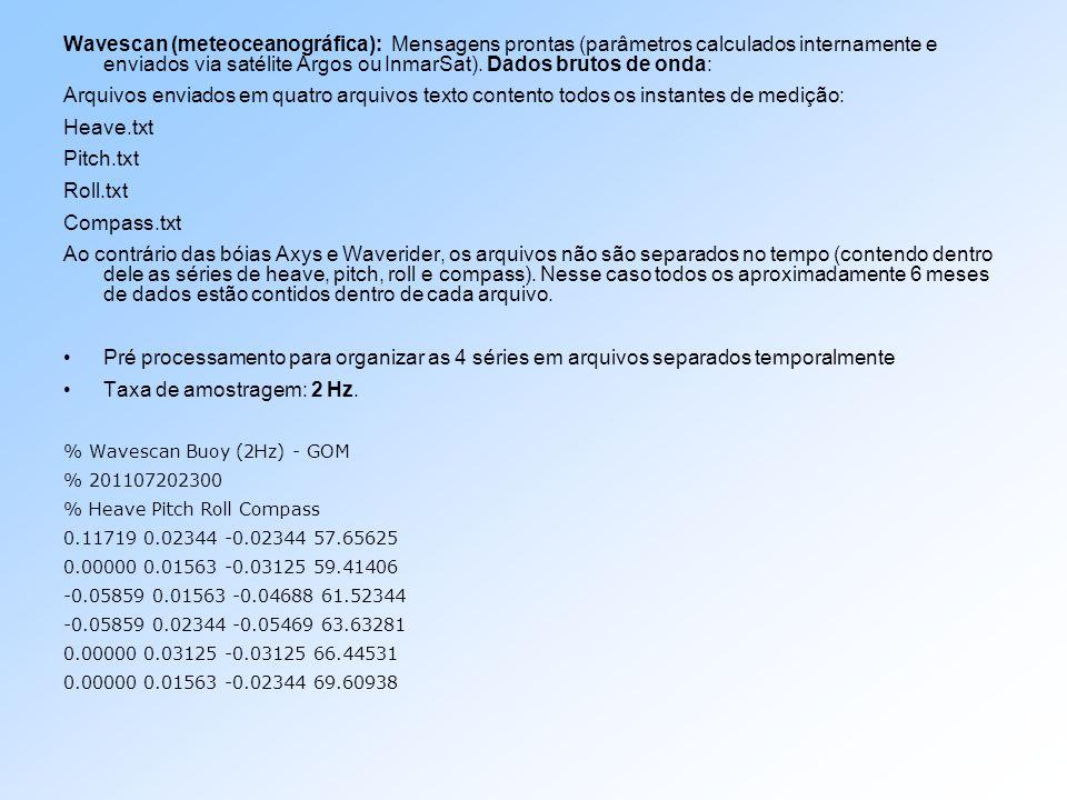 Wavescan (meteoceanográfica): Mensagens prontas (parâmetros calculados internamente e enviados via satélite Argos ou InmarSat). Dados brutos de onda:
