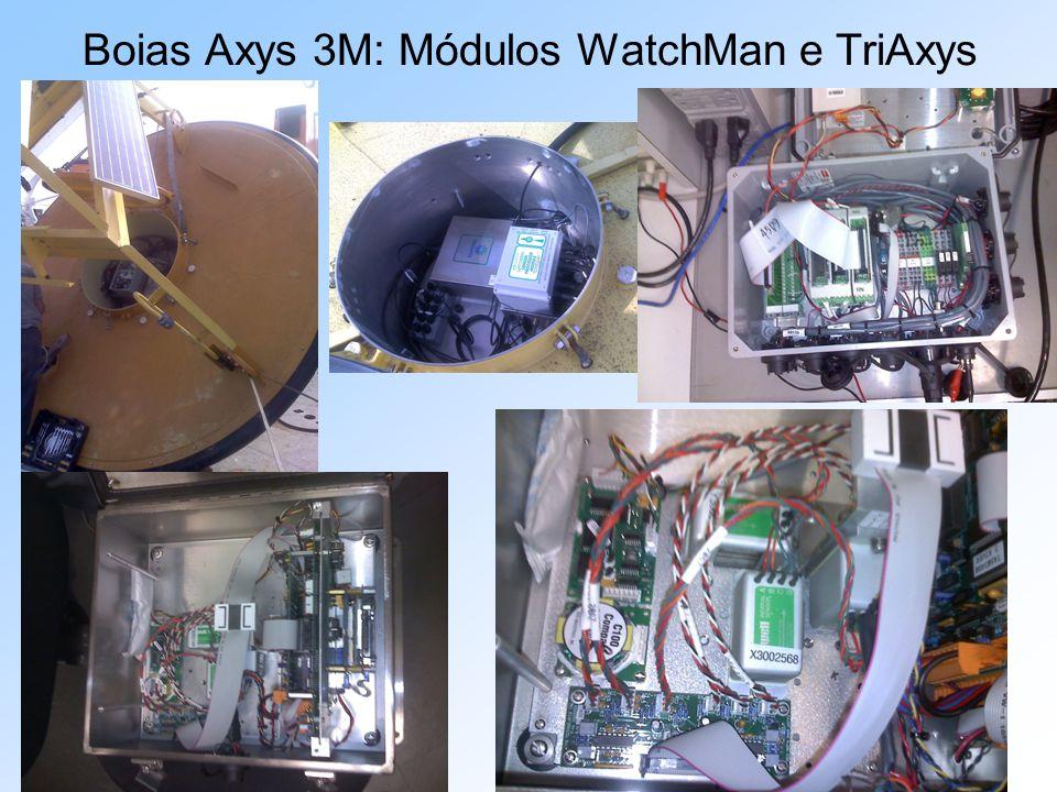O módulo Triaxys armazena somente dados de onda, enquanto o módulo WatchMan armazena todos os tipos de dados da bóia.
