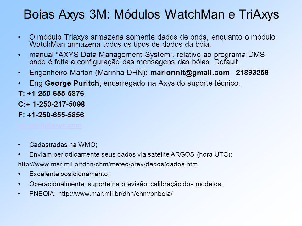 O módulo Triaxys armazena somente dados de onda, enquanto o módulo WatchMan armazena todos os tipos de dados da bóia. manual AXYS Data Management Syst