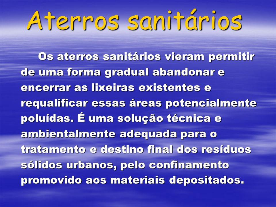Aterros sanitários Os aterros sanitários vieram permitir de uma forma gradual abandonar e encerrar as lixeiras existentes e requalificar essas áreas p