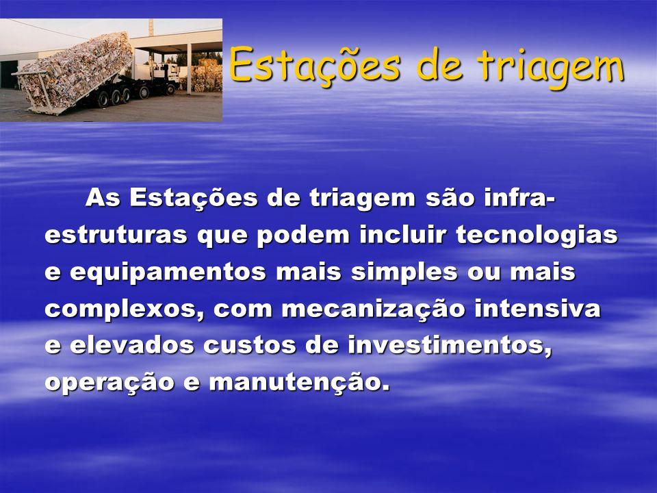 Estações de triagem As Estações de triagem são infra- estruturas que podem incluir tecnologias e equipamentos mais simples ou mais complexos, com meca