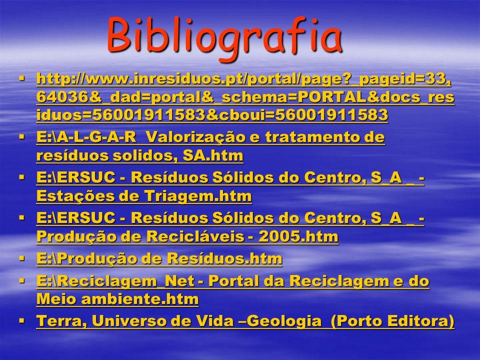 Bibliografia http://www.inresiduos.pt/portal/page?_pageid=33, 64036&_dad=portal&_schema=PORTAL&docs_res iduos=56001911583&cboui=56001911583 http://www