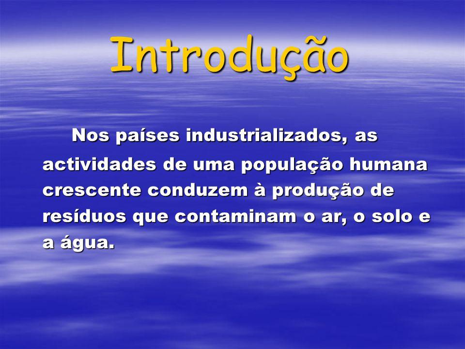 Introdução Nos países industrializados, as actividades de uma população humana crescente conduzem à produção de resíduos que contaminam o ar, o solo e