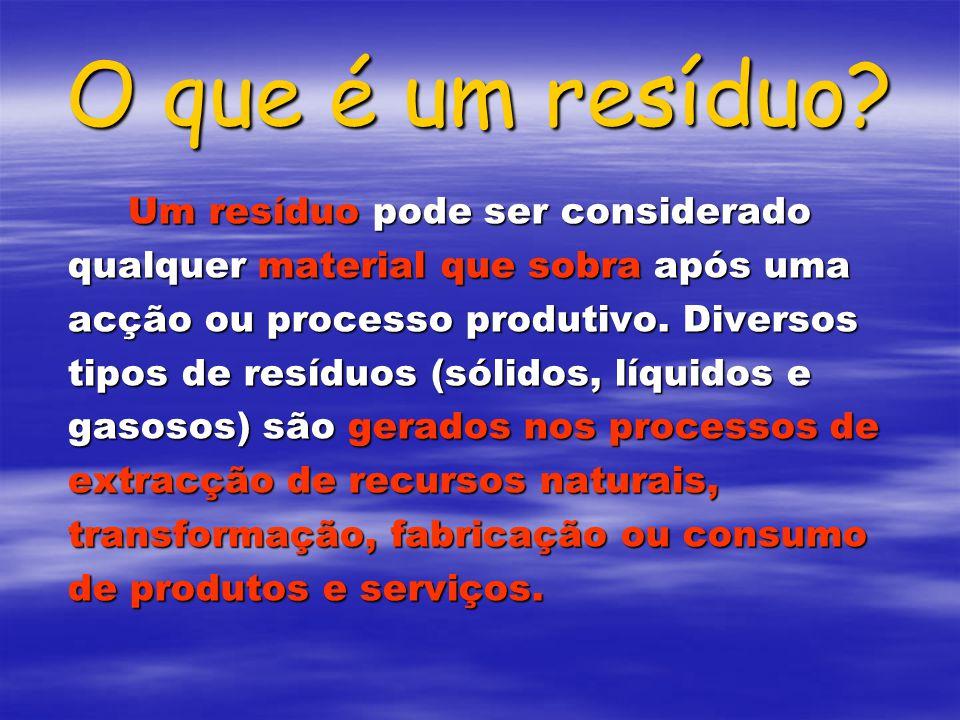 O que é um resíduo? Um resíduo pode ser considerado qualquer material que sobra após uma acção ou processo produtivo. Diversos tipos de resíduos (sóli