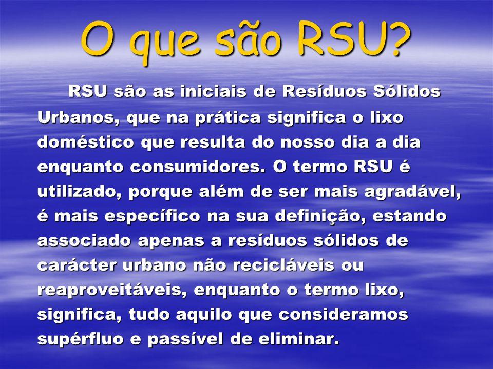 O que são RSU? RSU são as iniciais de Resíduos Sólidos Urbanos, que na prática significa o lixo doméstico que resulta do nosso dia a dia enquanto cons