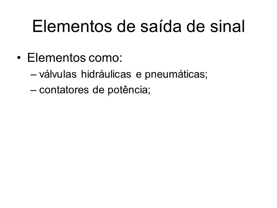 Elementos de saída de sinal Elementos como: –válvulas hidráulicas e pneumáticas; –contatores de potência;
