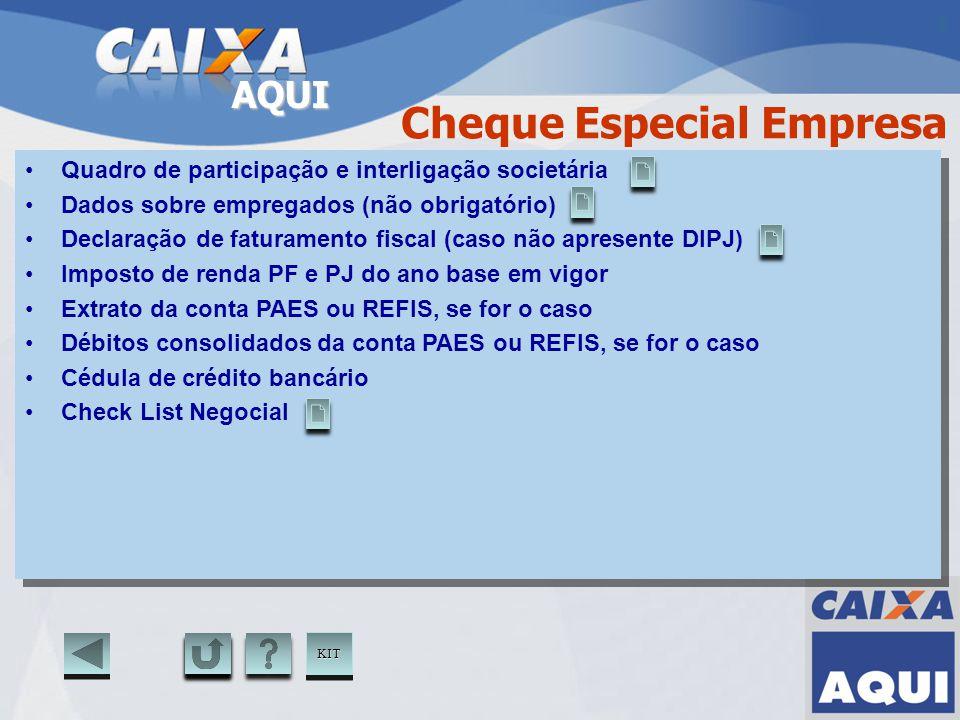 AQUI Cheque Especial Empresa Quadro de participação e interligação societária Dados sobre empregados (não obrigatório) Declaração de faturamento fisca