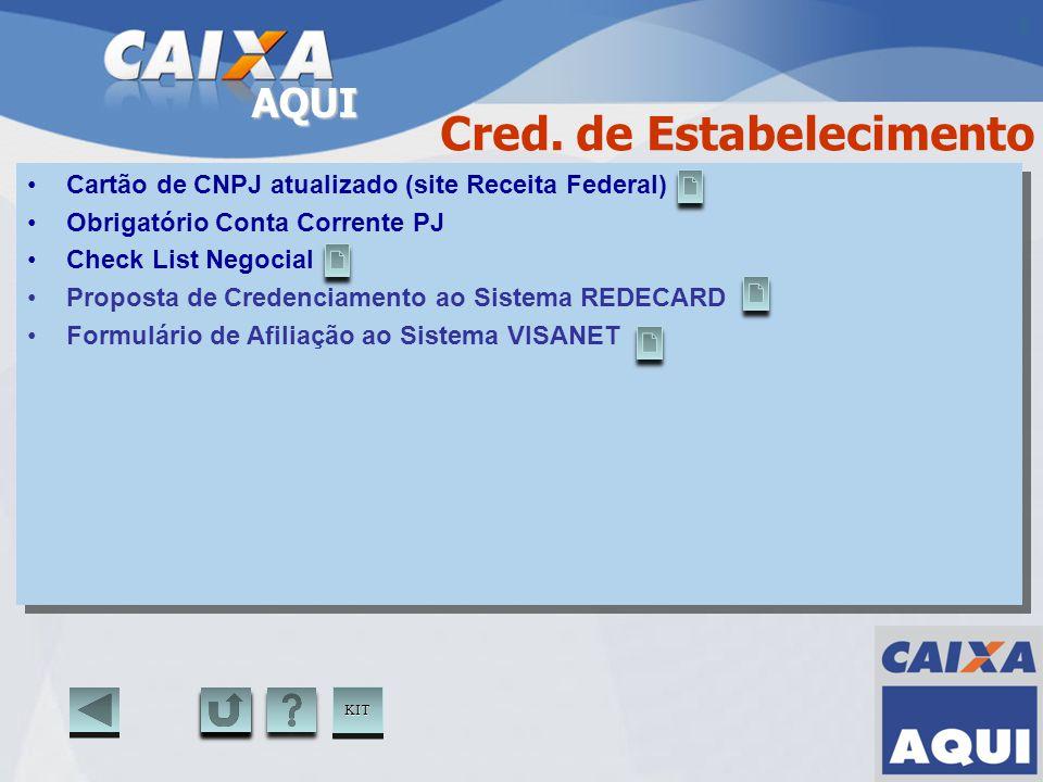 AQUI Cartão de CNPJ atualizado (site Receita Federal) Obrigatório Conta Corrente PJ Check List Negocial Proposta de Credenciamento ao Sistema REDECARD
