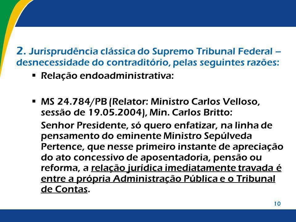 10 2. Jurisprudência clássica do Supremo Tribunal Federal – desnecessidade do contraditório, pelas seguintes razões: Relação endoadministrativa: MS 24