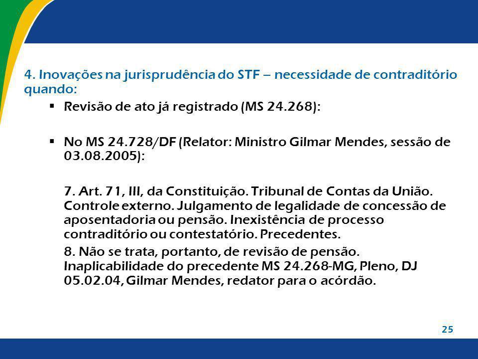 25 4. Inovações na jurisprudência do STF – necessidade de contraditório quando: Revisão de ato já registrado (MS 24.268): No MS 24.728/DF (Relator: Mi